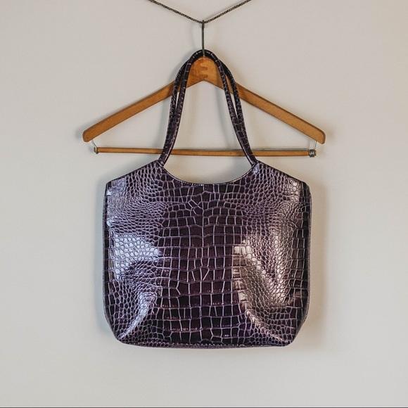 Neiman Marcus Handbags - Vintage 90s Deep Violet Crocodile Shoulder Satchel